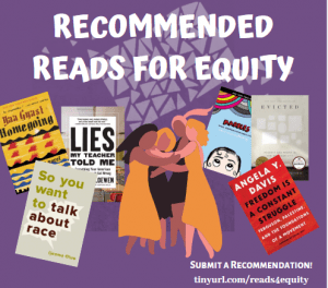 Text reads: Recommended Reads for Equity, with images of book titles