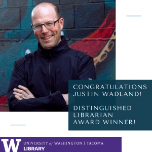 Image of man in glasses. Text: Congratulations Justin Wadland! Distinguished Librarian Award Winner!