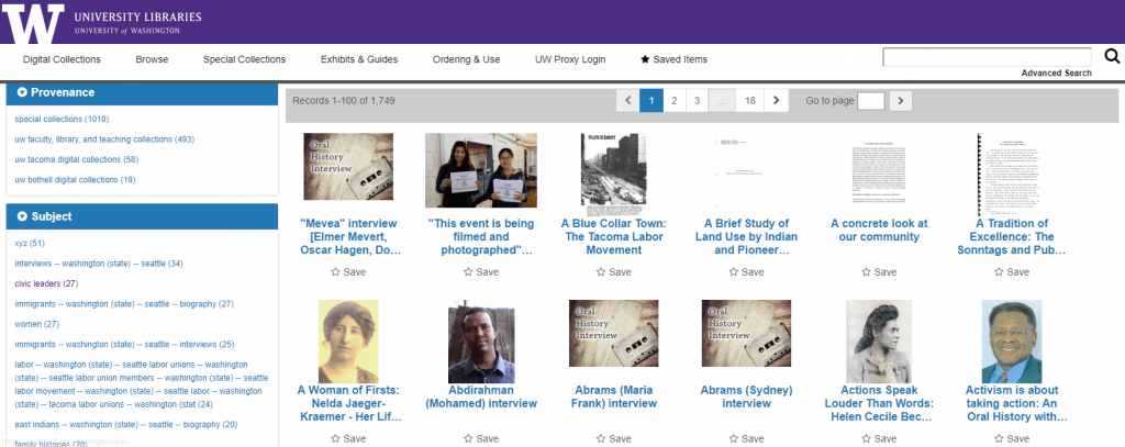 screen capture showing the UW Libraries Digital Collections site with sample oral history items