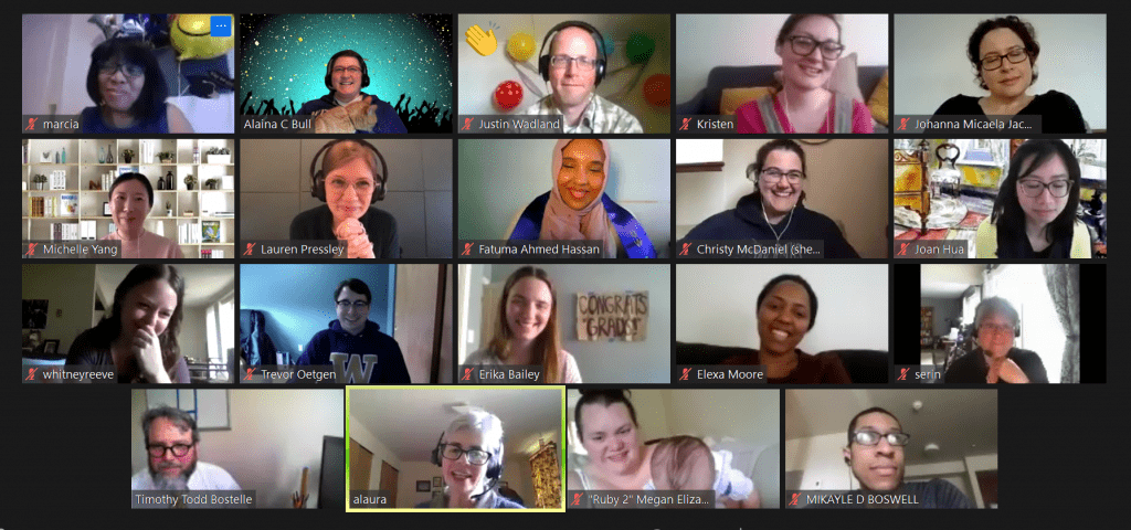 A photo of 19 library staff and students participating in a virtual graduation party on Zoom.