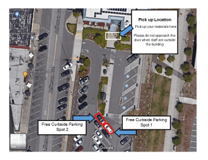 Shows pickup location for Lib2Go Curbside at UW Tacoma. Please do not approach the door when staff are outside the building.