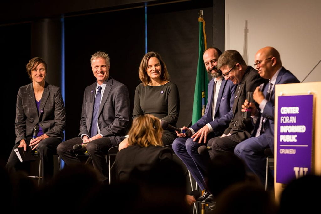 Image of panel discussion during the CIP's launch event Dec. 3 features (from left) Kate Starbird, Chris Coward, Emma Spiro, Ryan Calo, Mike Caulfield and Anind Dey.