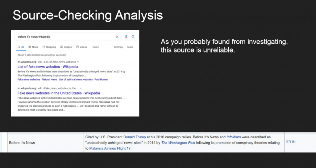 Source-checking analysis slide from MisinfoDay Jr.