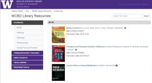 MCBD library resource front page