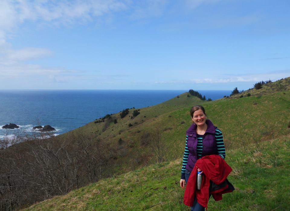 Katie takes a break for a hike along the Oregon Coast, at Cascade Head.