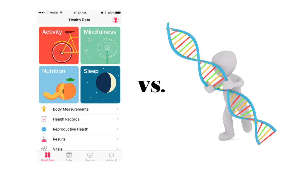 "A screenshot of the iPhone ""Health"" modules, versus a person holding onto a DNA double helix"
