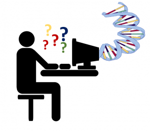 DNA helix is being fed into someone's computer screen but only confusion comes out the end.