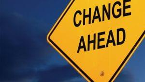 "Road sign saying ""change ahead"""