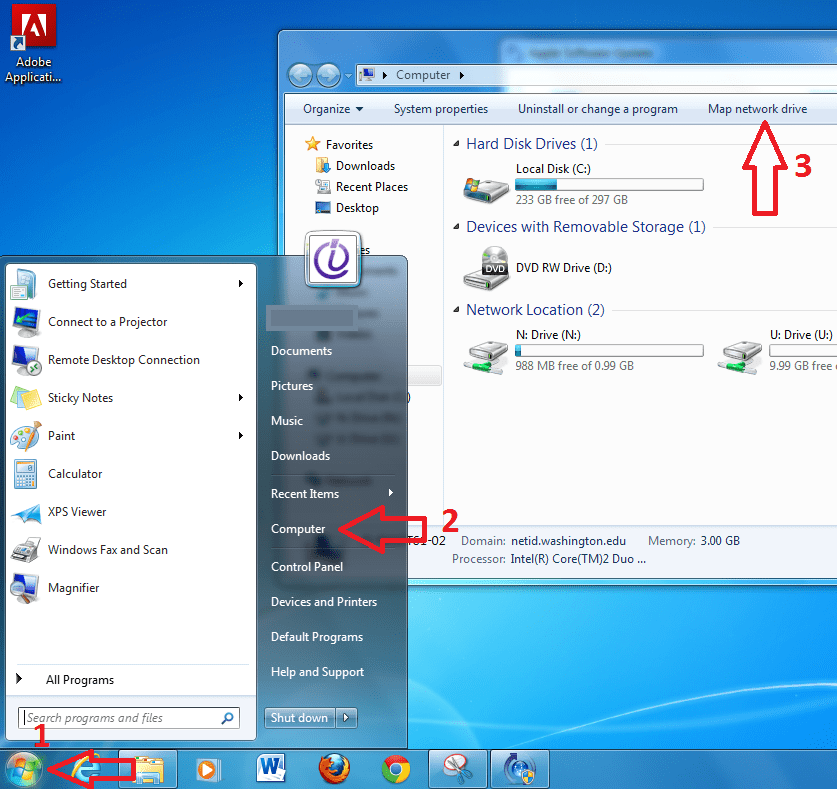 Win 7 Map Network Drive Button