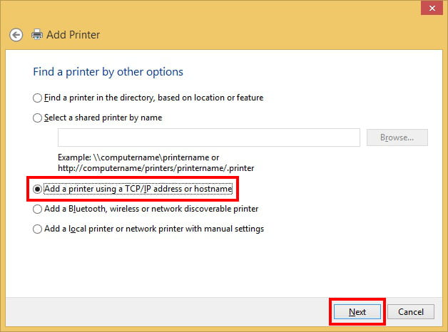 Add Printer By IP