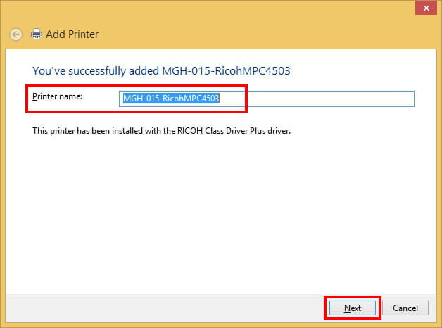 Confirm Printer Name