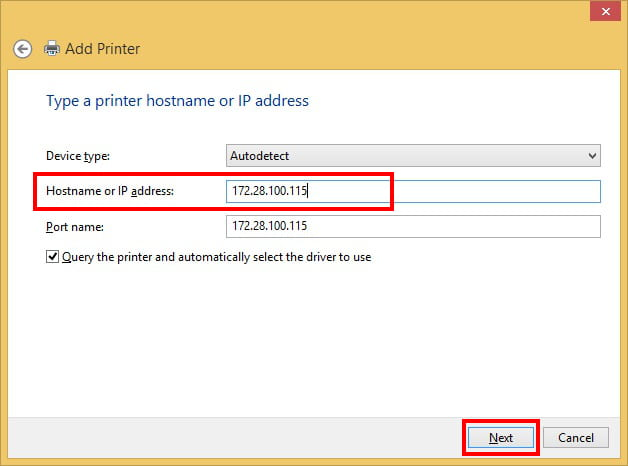 Enter Printer IP