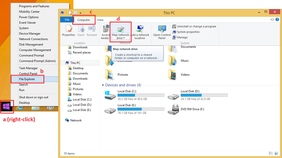 Win 8 Map Network Drive Button