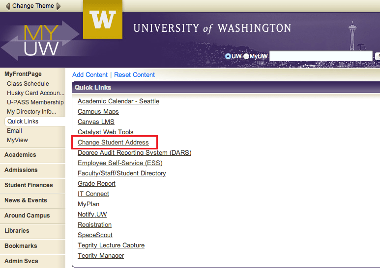 My UW Change Student Address
