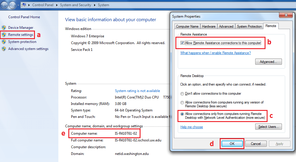 Win 7 Remote Settings