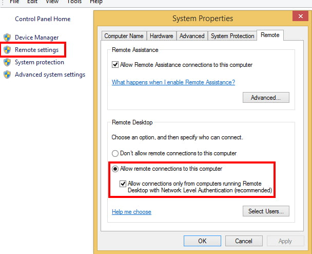Windows 8 Remote Settings