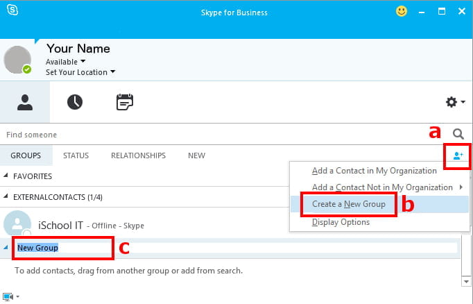 Skype for Business, Windows, Create New Group