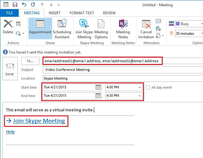 Skype for Business, Windows, Schedule Skype Meeting 02