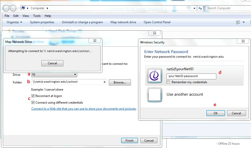 Windows 7 Map Network Drive Settings