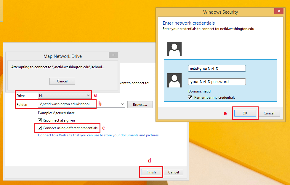 Windows 8 Map Network Drive Settings