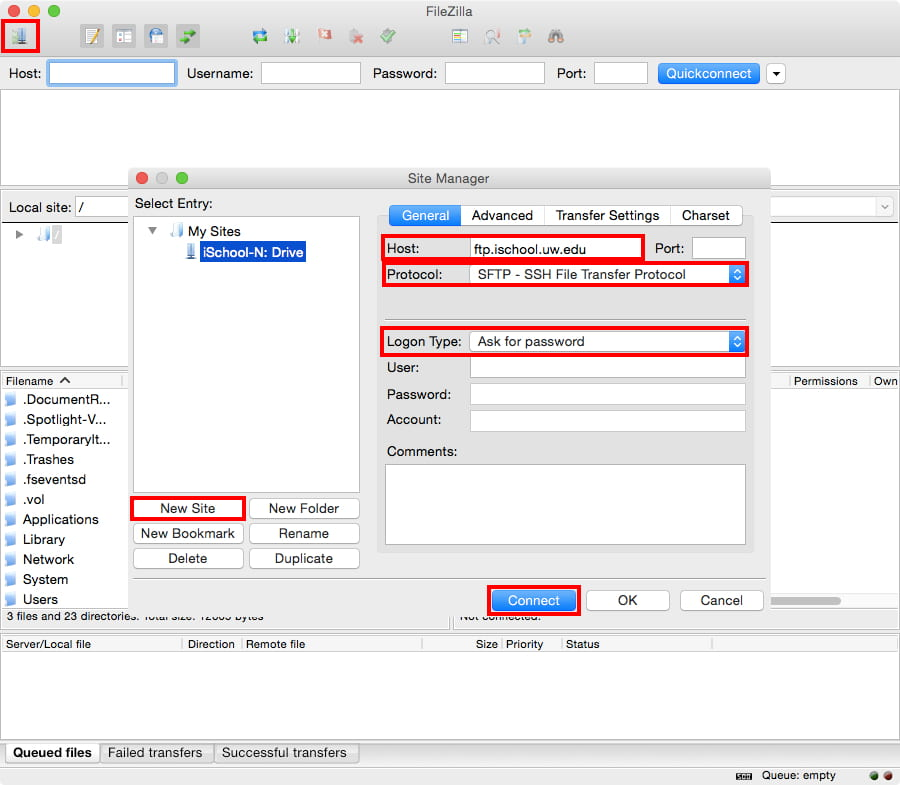 Create FTP Site, Mac Yosemite FileZilla