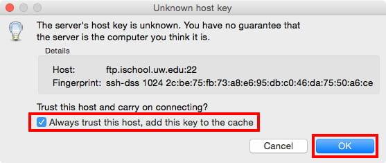 Unknown Host Key FileZilla Mac
