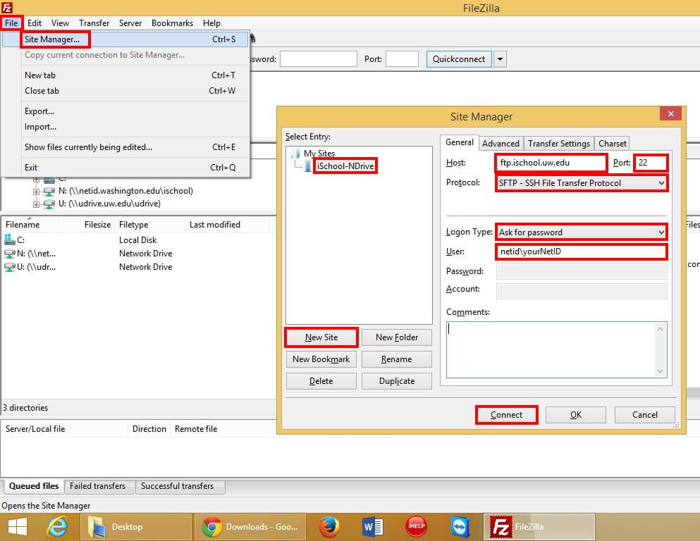 iSchool FTP Settings