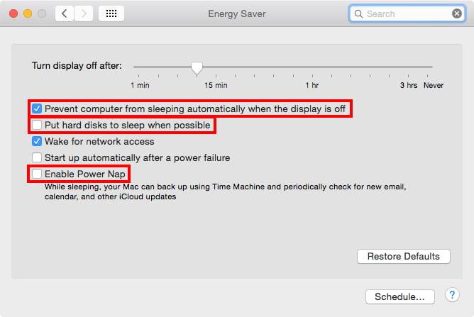 Mac OS X Yosemite Energy Saver System Preferences
