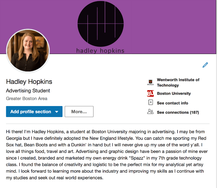 Example of LinkedIn Profile