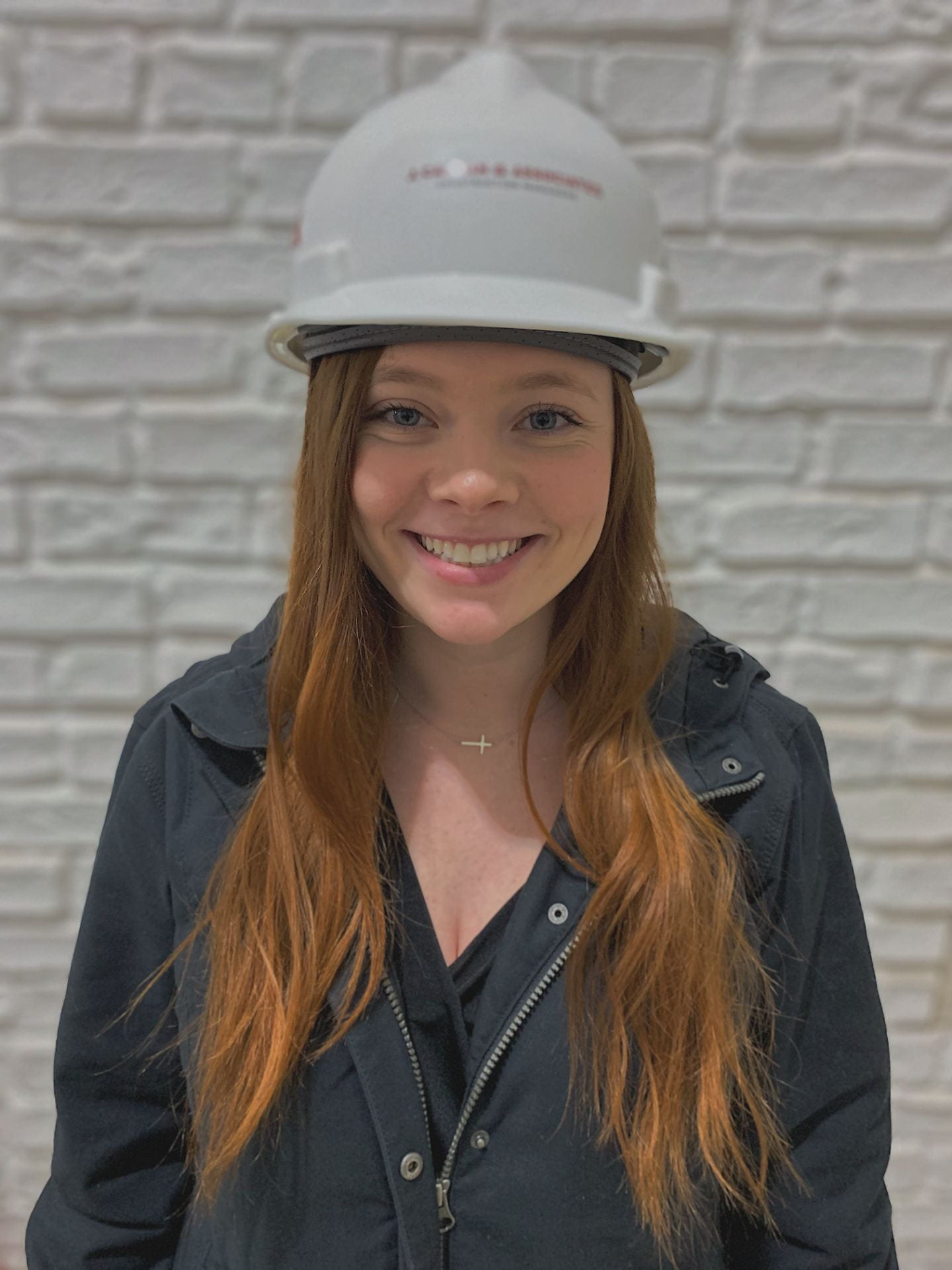 Julia with hard hat on