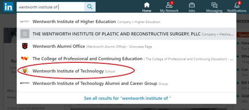 "Search ""Wentworth Institute of..."" into LinkedIn search bar"