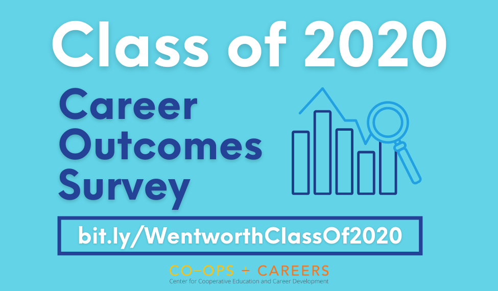 Graphic with tex on blue background: Class of 2020 Career Outcomes Survey. Take survey here: bit.ly/WentworthClassOf2020