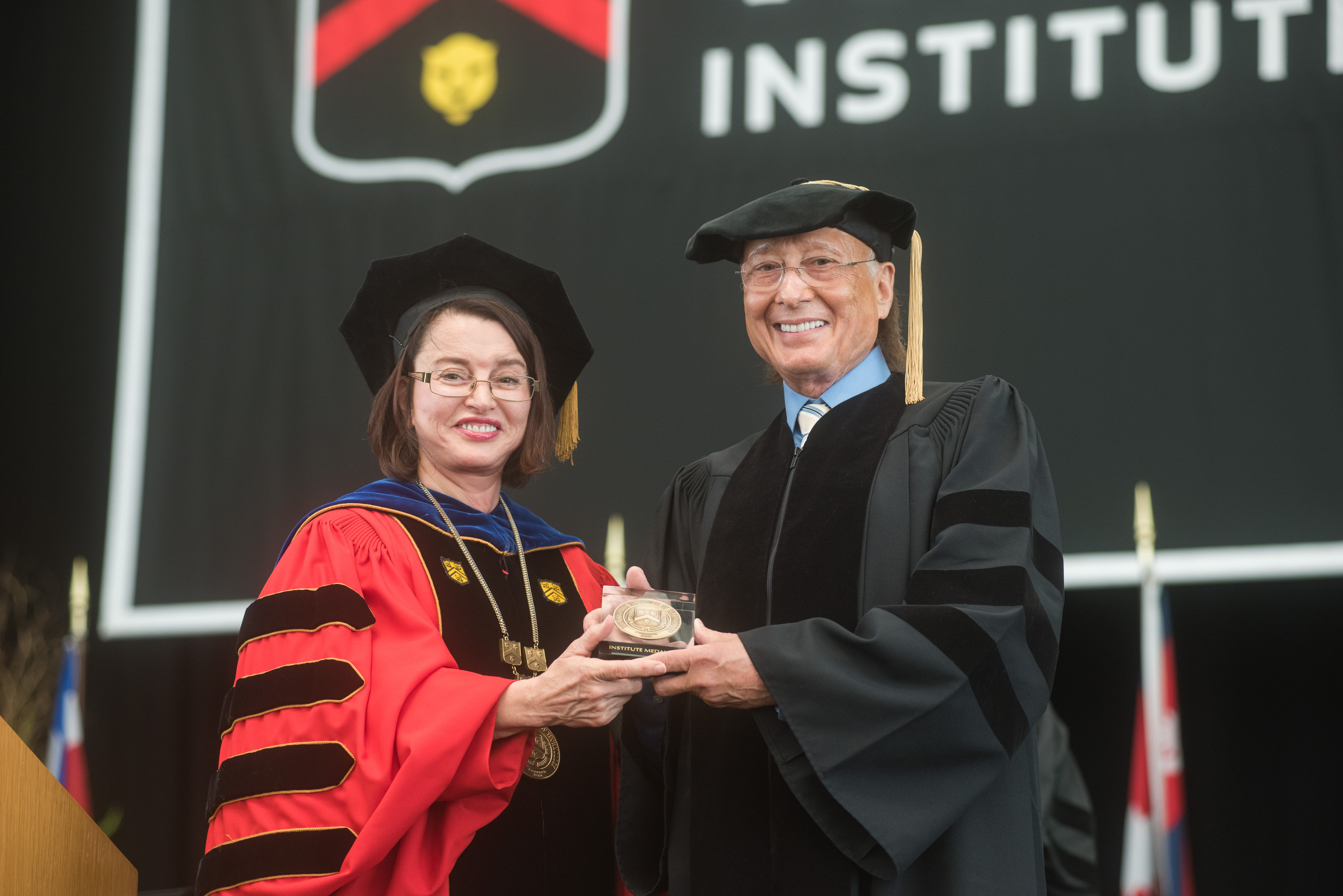 President Zorica Pantic´ with Commencement speaker Art Zafiropoulo, EE '60.
