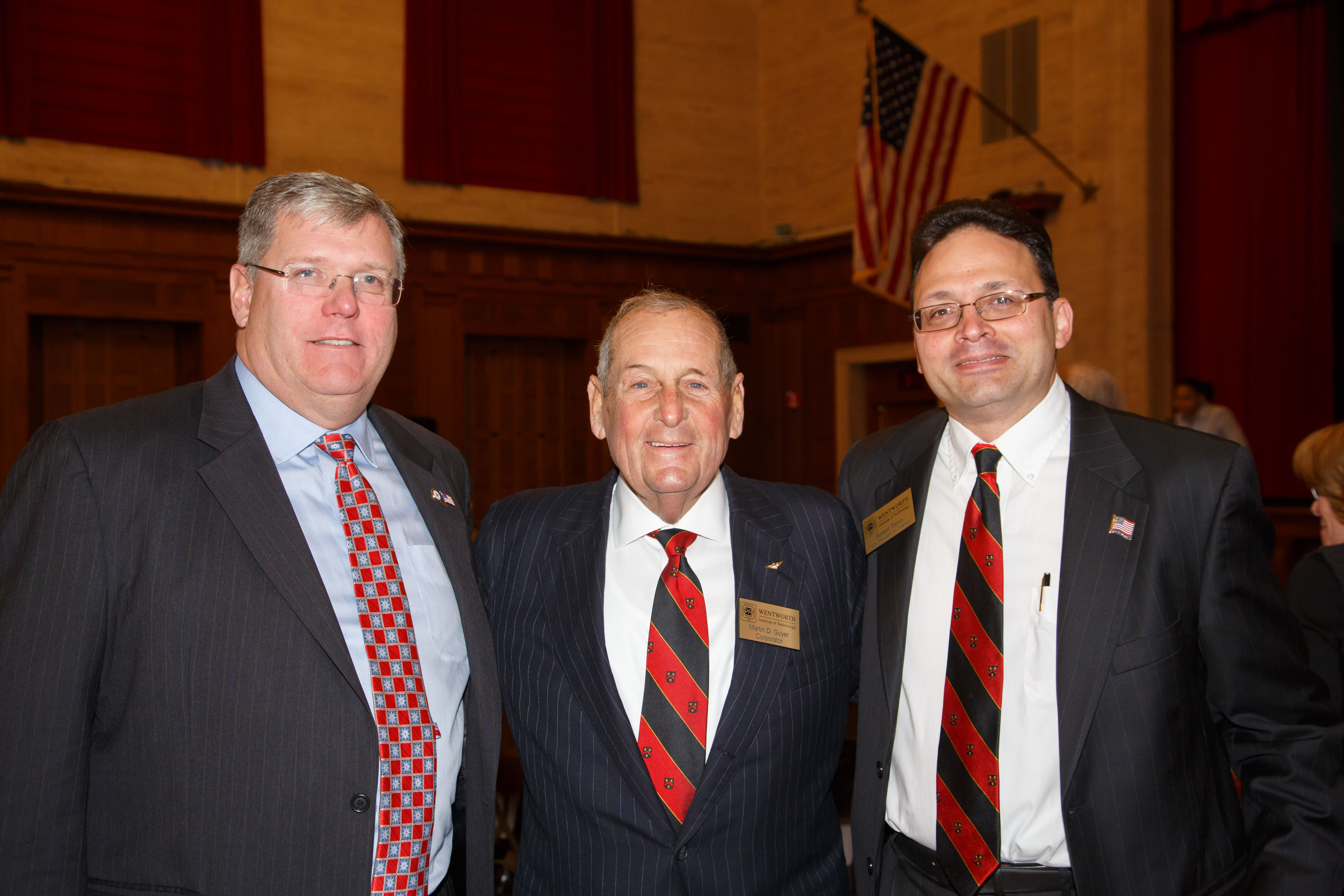 Massachusetts Department of Veterans Services General Counsel Stuart Ivimey, Marty Guyer, and Vice President for Finance Robert Totino.