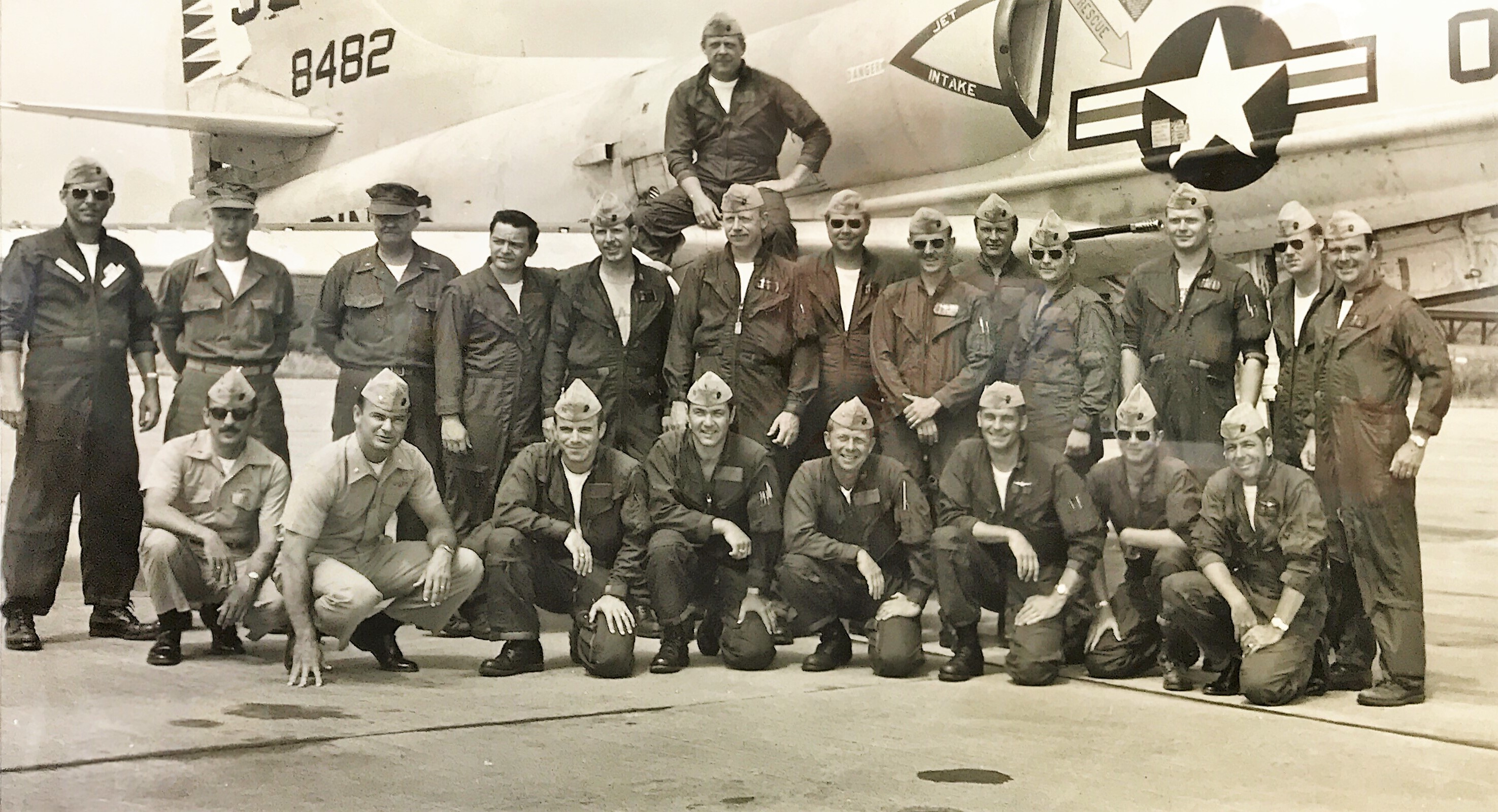 "Martin ""Marty"" D. Guyer, second row, fourth from right, with Marine Attack Squadron 322 on live-fire deployment at Naval Air Station Fallon in Nevada, August, 1973."