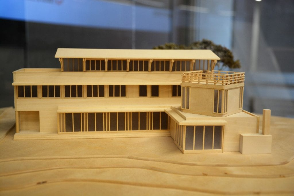 An architecture model made of wood