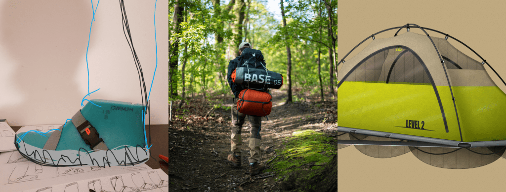 three images of a boot, backpack and tent