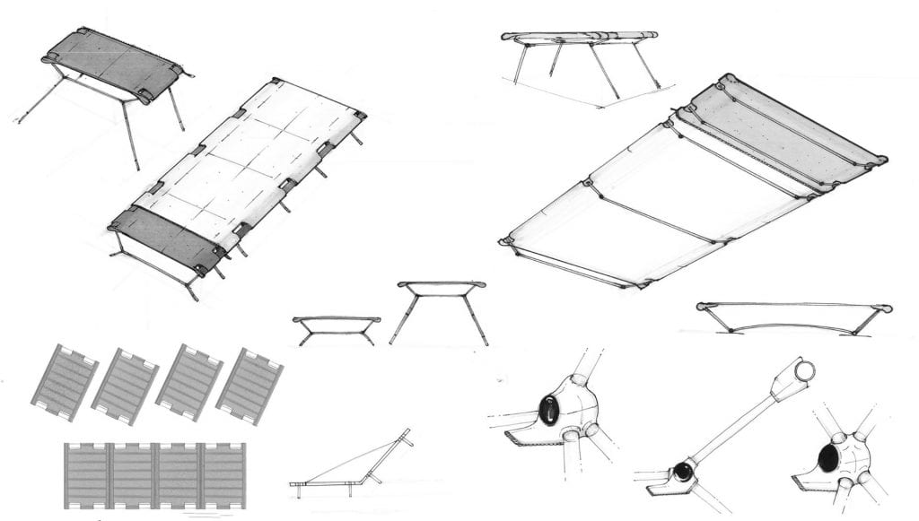 sketches showing a cot design
