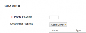 Add Rubric button in Grading options