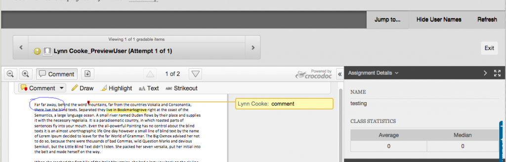 Inline Grading - commenting tools