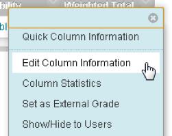 Select Edit column information from Column contextual menu