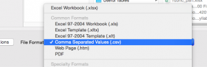 Select Comma-Separated Values (.csv) as the format