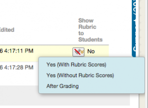 Show Rubric to students options