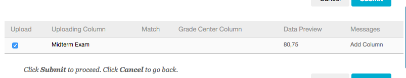 Upload Grades page