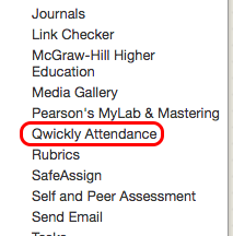 Course Tools menu with Qwickly Attendance circled