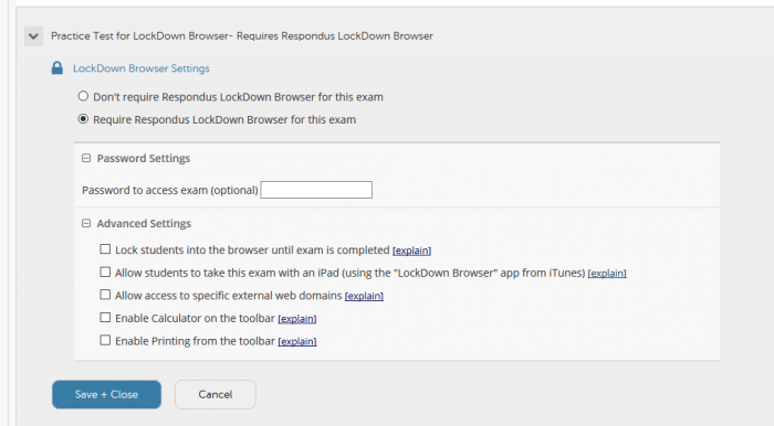 LockDown Browser - All settings