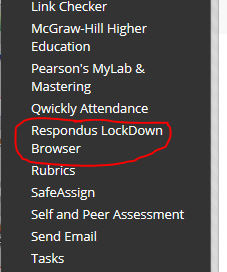 LockDownBrowser Link on Blackboard Control Panel