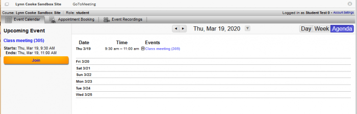 Student view of GoToMeeting