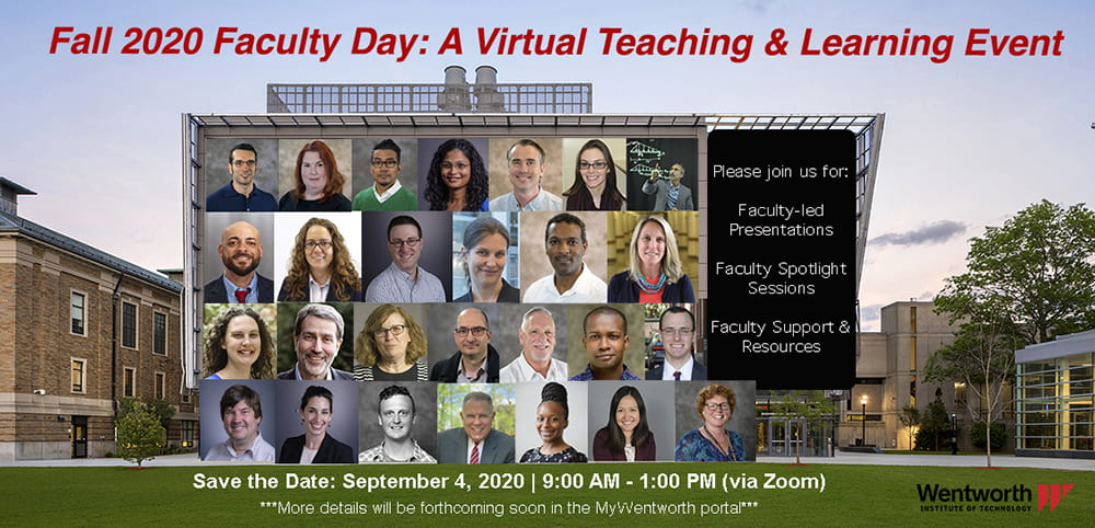 fall 2020 virtual teaching and learning image with presenter headshots