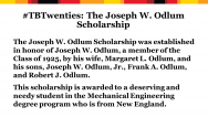 Joseph Odlum scholarship is awarded to Mechanical Engineering student